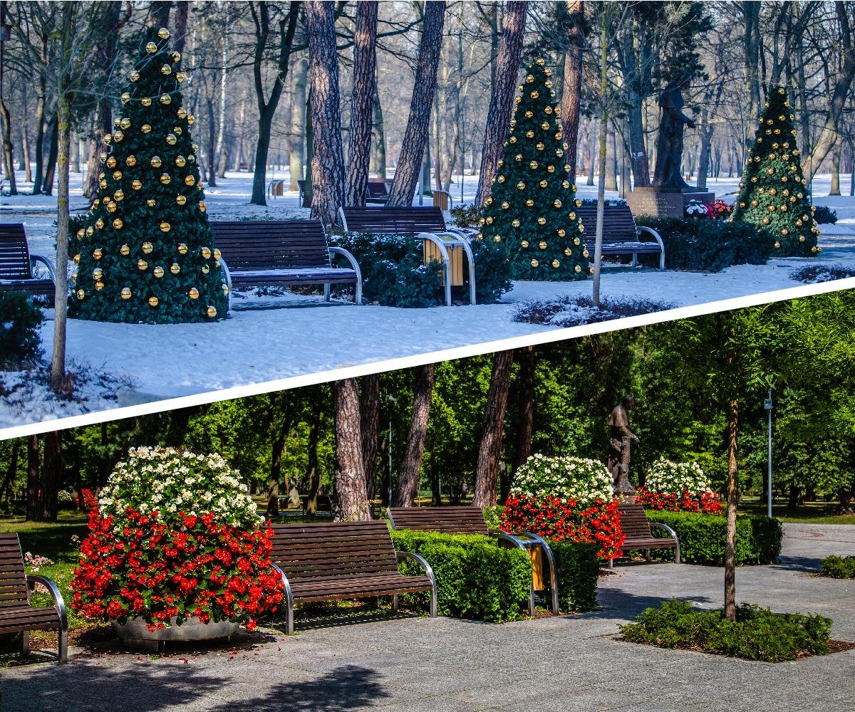 Ein Blumenturm im Sommer, ein Weihnachtsbaum im Winter