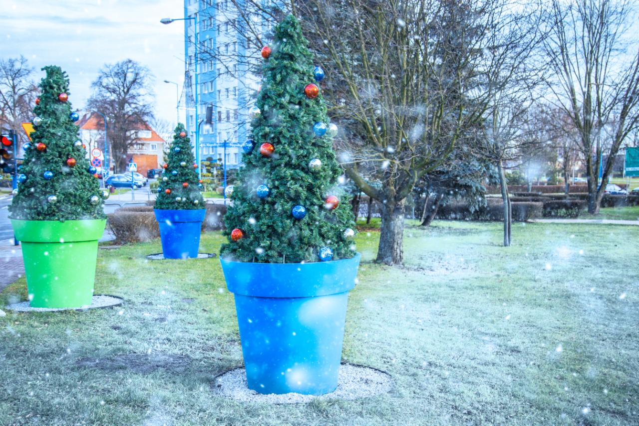 Wie kann man Stadtblumentöpfe in Weihnachtsdekorationen verwandeln?